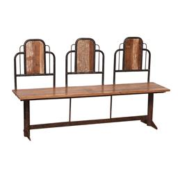 Sale 9245T - Lot 86 - A vintage Art Deco style metal and teak three seat bench with back supports. Dimensions: H 95 x W 158 x D 45cm