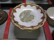 Sale 7977 - Lot 22 - Davenport Longton Hand Painted and Gilded Cake Stand (restored)