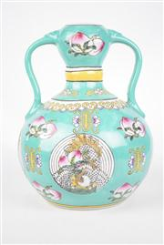 Sale 8381 - Lot 90 - Polychrome Double Handled Vase decorated with Peaches, Cranes & Long Life
