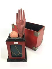 Sale 8539M - Lot 247 - Magicians Boxes, filled with props including Vintage Spirit Rapping Hand in wood