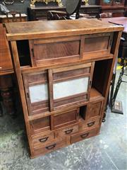 Sale 8666 - Lot 1076 - Antique Japanese Elm & Pine Tansu Chest, with three pairs of sliding doors, one set with paper panels, one door & five drawers