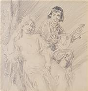 Sale 8695A - Lot 5054 - Norman Lindsay (1879 - 1969) - Night Song 25 x 23cm