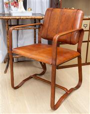 Sale 8703A - Lot 17 - A leather luggage style desk chair with belt effect supports, Height of back 86cm, W x 57cm, D x 48cm