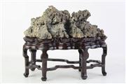 Sale 8815C - Lot 6 - Chinese Scholars Rock on Rosewood Stand (W 20cm)