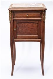 Sale 8940J - Lot 97 - A French cherrywood bedside cabinet with marble insert top over single drawer and porcelain interior, old crack to marble which is f...
