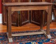 Sale 9020H - Lot 40 - An English Oak sidetable with stretcher base H-70xW101x D44cm