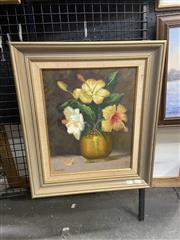Sale 9028 - Lot 2042 - Nicolas Hibiscus and Brass Bowl oil on board 52 x 45cm, signed lower left