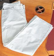 Sale 9044H - Lot 41 - A pair of Ralph Lauren high waisted jeans in white cotton with zips to ankles, Size AUS 10