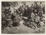 Sale 9092P - Lot 1 - The 27th and 28th Btns having a rest and meal behind the banks before going in at Mt St Quentin Sept 1918 (145mm x 200mm)