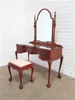 Sale 9137 - Lot 1054 - Mirror back 3 drawer dresser with matching footstool on ball & claw feet (h174 x w124 x d55cm)