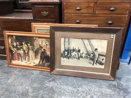 Sale 9139 - Lot 2066 - Group of three early prints including  Napoleon, Fred Rowe Goodbye My Lads, and another 18th century scene (A.F)