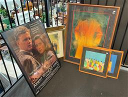 Sale 9176 - Lot 2220A - A Group of assorted artworks including contemporary African paintings, decorative prints and a signed movie poster for Away with Ou...