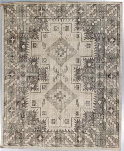Sale 9248H - Lot 140 - An Erased Jaipur double medallion wool rug in muted  tones. 300x 240cm