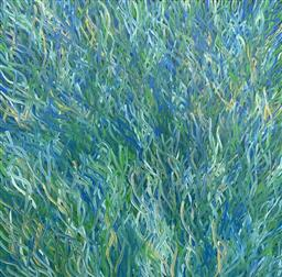 Sale 9248H - Lot 181 - BARBARA WEIR (c1945 - ) Hand Signed, Original Acrylic On Canvas Title: Grass Seeds Image Size: 87cm x 90cm Signed: Verso