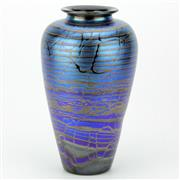 Sale 8264 - Lot 58 - Iridescent Blue Art Glass Vase by Robert Wynne