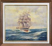 Sale 8259 - Lot 585 - John Charles Allcot (1888 - 1973) - Tall Ship On Rough Seas 51 x 60.5cm