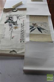 Sale 8285 - Lot 94 - Two Chinese Scroll Paintings (with information inside)