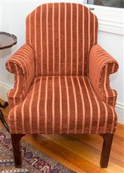 Sale 8308A - Lot 30 - A pair of well upholstered Georgian style armchairs in cinnamon moquette, W 73cm, D 66cm