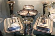 Sale 8327 - Lot 71 - Silver Plated Pair of Lidded Tureens with Other Plated ware incl Trumpet Vases