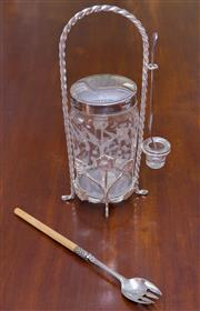 Sale 8346A - Lot 81 - An EP and glass pickle jar on stand with spare pickle fork