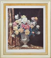 Sale 8382 - Lot 564 - Allan Thomas Bernaldo (1900 - 1988) - Roses and Urn 74 x 63.5cm
