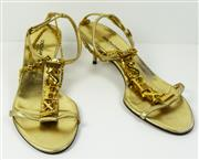 Sale 8460F - Lot 9 - A pair of Dolce & Gabbana gold strappy mule heels with SEX in gilt metal and gilt chain detail, very minor wear, size 37.5
