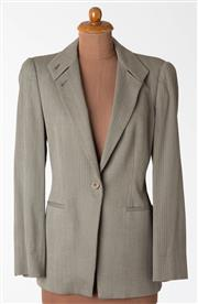 Sale 8550F - Lot 110 - A Giorgio Armani wool/ spandex blend jacket in olive green pinstripe pattern, size 46.