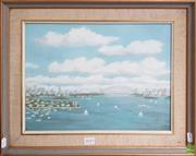 Sale 8604 - Lot 2043 - Artist Unknown - Overlooking Sydney Harbour oil on board 41 x 52cm (frame size) signed lower right