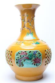 Sale 8740 - Lot 1509 - Yellow Yuhuchun ping Chinese Vase Decorated With Birds And Flowers H:53cm