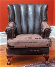 Sale 9020H - Lot 23 - A vintage dark brown leather club chair with stud detail and claw and ball feet Height of back 95cm W-82 D-approx 90cm