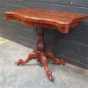 Sale 9048 - Lot 1012 - Victorian Burr Walnut & Marquetry Card Table, with serpentine top, on a turned carved pedestal & four outswept feet H73 x W94 x D94cm)