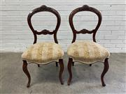Sale 9085 - Lot 1086 - Pair of Victorian Walnut Balloon Back Chairs, having leopard print fabric with subtle stripes & raised on cabriole legs (h:92 x w:50...