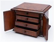 Sale 9080W - Lot 77 - A Mahogany apprentice chest of two drawers opening to reveal four drawers. 15 x 19 x 14cm