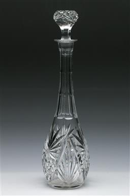 Sale 9164 - Lot 70 - A Bohemian Cut Glass Decanter with Stopper (H:37cm)