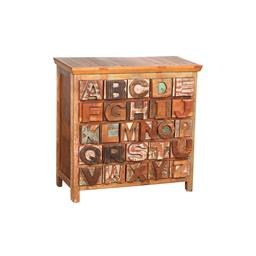 Sale 9245T - Lot 42 - A rustic painted and carved alphabet chest of drawers. Dimensions: H 106 x W 109 x D 42cm