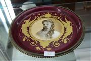 Sale 7977 - Lot 24 - Continental Porcelain Plate with Hand Painted Miniature of Lady Mounted in Brass Stand
