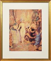 Sale 8257A - Lot 55 - Norman Lindsay (1878 - 1969) - The Curtain 52 x 40cm