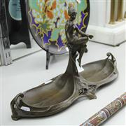 Sale 8379 - Lot 58 - Bronze; Double Dish with Central Figure of a Seated Lady & Bird; H26cm x W45cm
