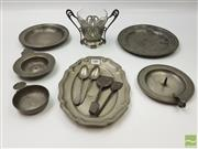 Sale 8439F - Lot 1885 - Collection of Various Pewterwares incl. Spoons, Plates and Dish