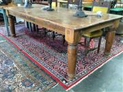 Sale 8672 - Lot 1044 - Timber Country Style Dining Table - Marked Laurence A. Lee (H: 77 L: 238 W: 117cm)