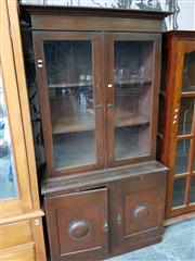 Sale 8740 - Lot 1189 - Timber Bookcase with Glass Panel Doors