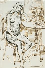 Sale 8881A - Lot 5093 - Wallace Thornton (1915 - 1991) - Seated Nude 36 x 23.5 cm