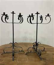 Sale 8972H - Lot 60 - A Set of 4 wrought iron candlesticks, Height 83cm