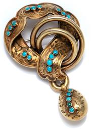 Sale 9046 - Lot 393 - A VICTORIAN GOLD TURQUOISE BROOCH; 18ct gold knot motif with foliate engraved ribbons suspending an egg form drop and set throughout...