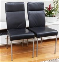 Sale 9080H - Lot 60 - A Set of six nick Scali black leather dining chairs, Height of back 99cm