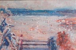 Sale 9116A - Lot 5057 - Guido Zuliani (1927 - ) Balcony Views of the Sydney Harbour oil on board 75 x 105 cm (frame: 83 x 114 x 5 cm) signed lower right