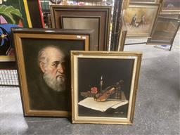 Sale 9123 - Lot 2088 - A Still Life depicting Hebrew Themed Still Life, together with Portrait of an Elder, 73 x 59cm; 60 x 50cm, each signed