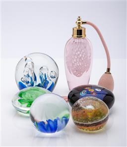 Sale 9185 - Lot 93 - Set of five art glass paperweights together with a perfume bottle