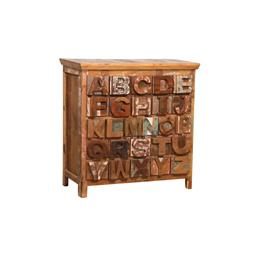Sale 9245T - Lot 41 - A rustic painted and carved alphabet chest of drawers. Dimensions: H 107 x W 109 x D43cm