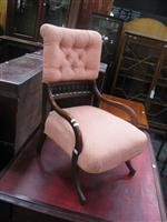 Sale 7919A - Lot 1698 - Late Victorian Cedar Bedroom Chair with Apricot Upholstery
